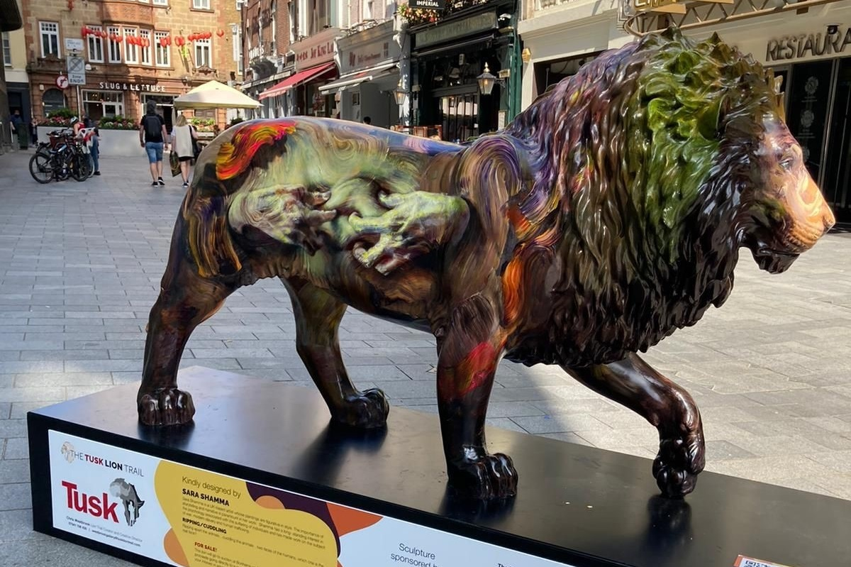 The Animal Friends-sponsored lion in Leicester Square, on the Tusk Lion Trail